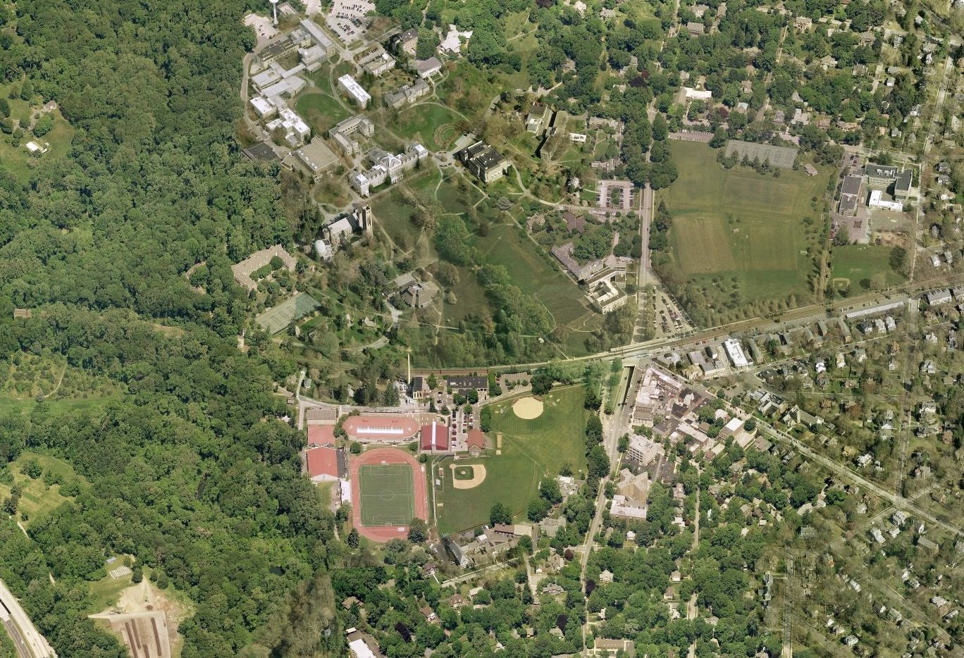 Birds-eye view of Swarthmore campus