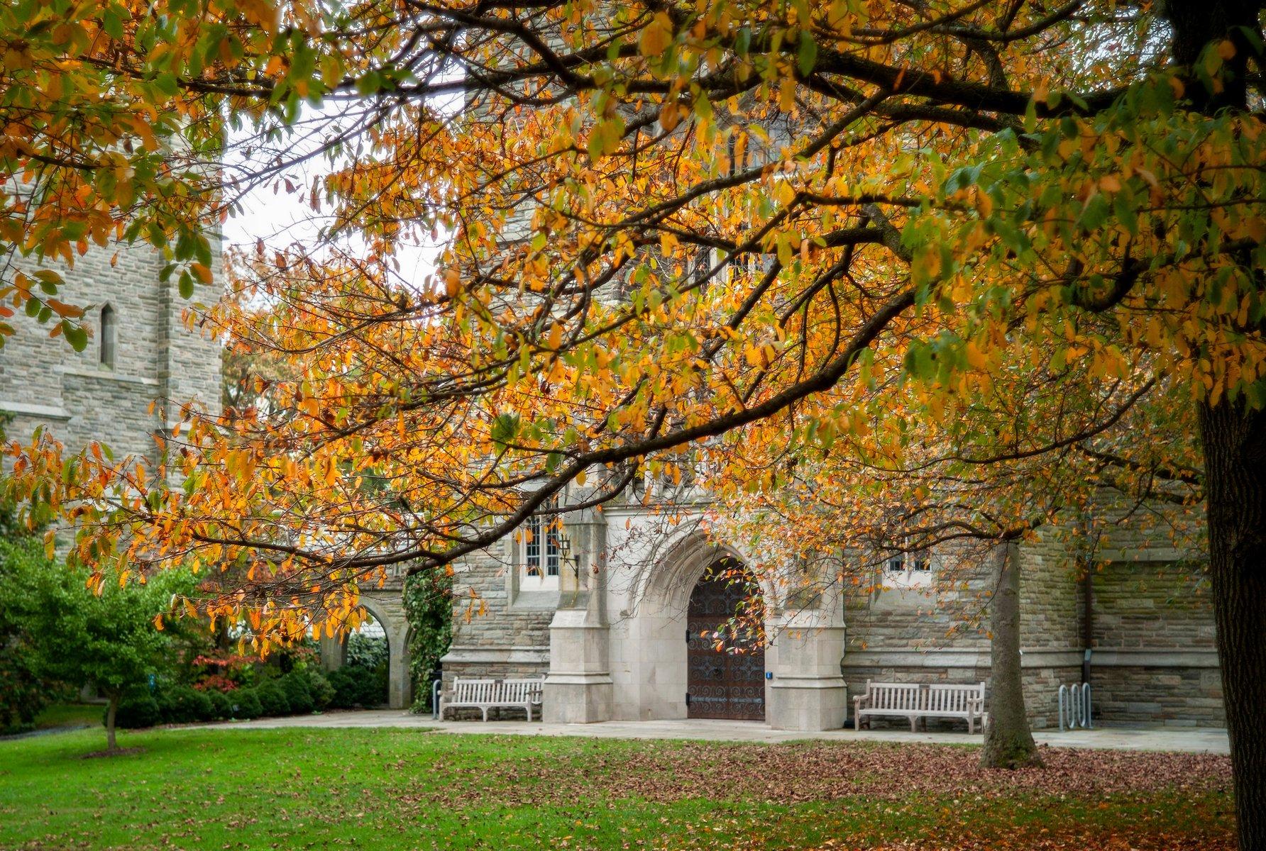 Swarthmore College beautiful fall foliage at building