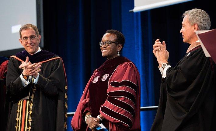 From left, Princeton President Christopher Eisgruber, Valerie Smith, Swarthmore Board Chair Thomas Spock '78