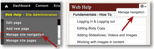 Manage navigation using the link under site administration or editing the pane directly