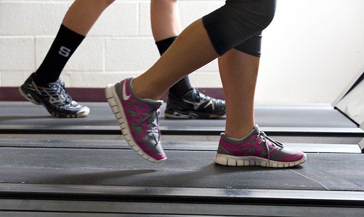 People walking on treadmills